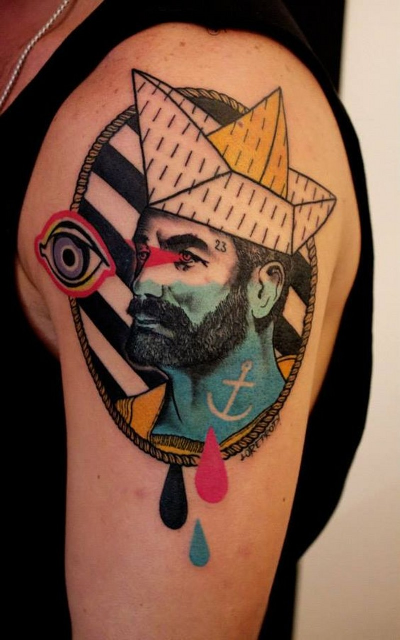 4dadc13b20318 Unique style combined mystic colored nautical portrait tattoo on upper arm