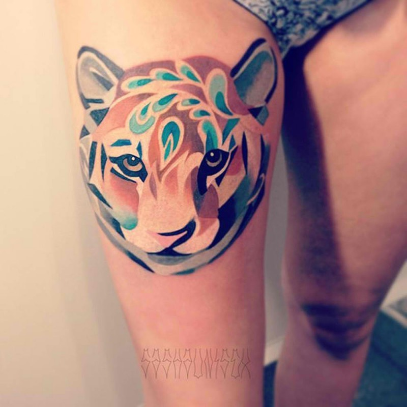 Beautiful Tiger Tattoo Design On Thigh: Unique Tiger Watercolor Tattoo Design On Hip