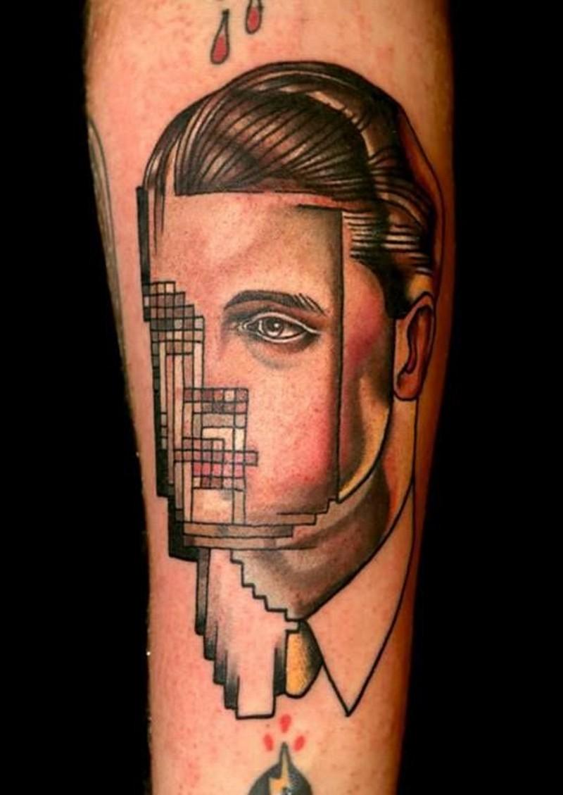 bellissimo stile ritratto colorato senza volto con 2D grafica tatuaggio su braccio