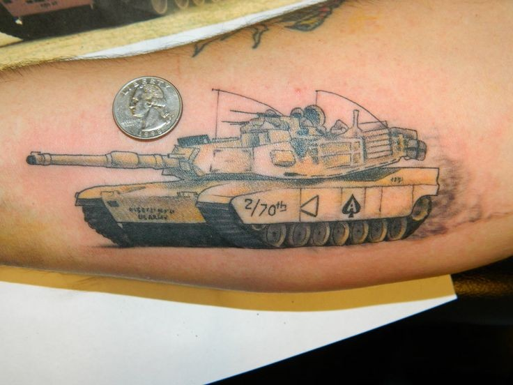 Illustrative style colored arm tattoo of modern American tank
