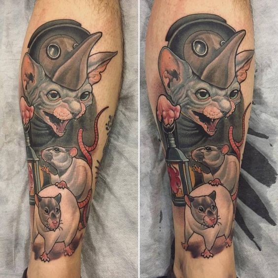 New school style colored leg tattoo of cat with plague doctors mask and rats