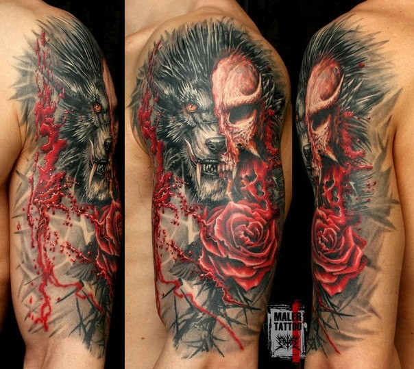 Illustrative style colored shoulder tattoo of demonic wolf with rose