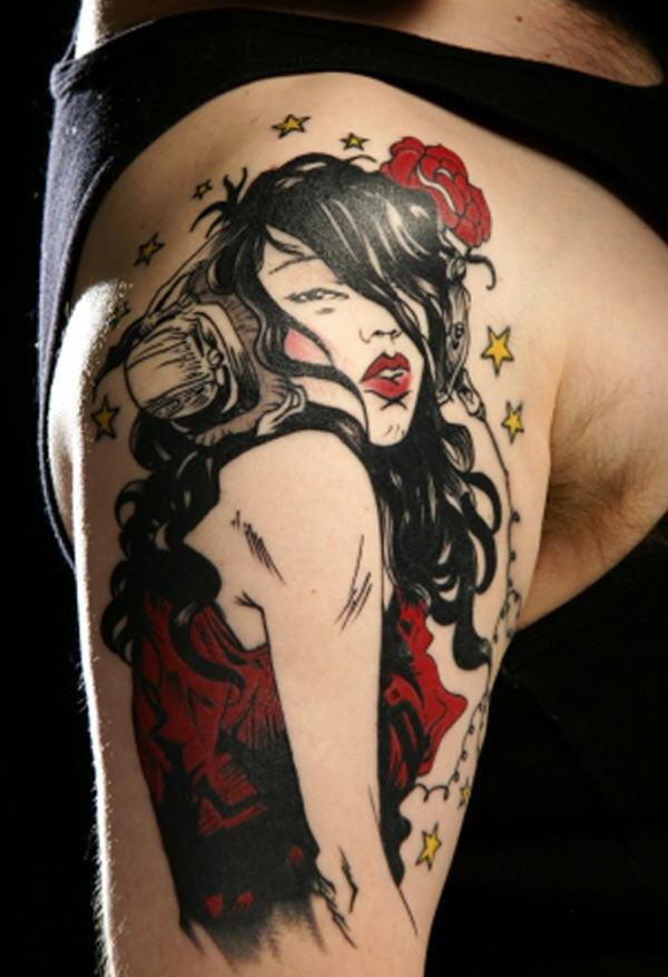 Illustrative style colored shoulder tattoo of seductive woman with rose and stars
