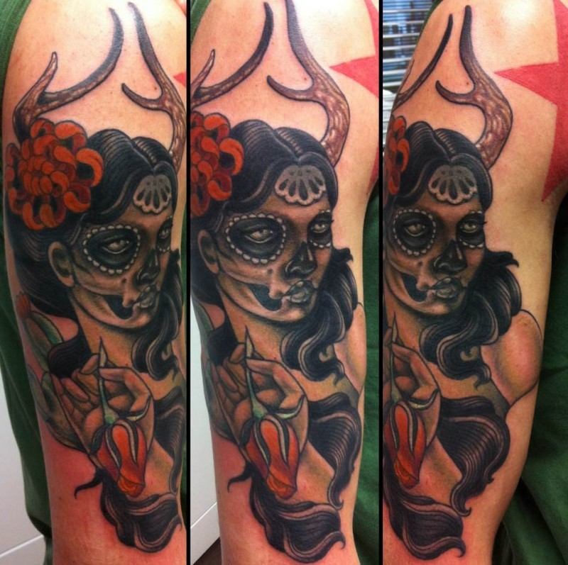 New school style colored shoulder tattoo of woman with horns and flowers