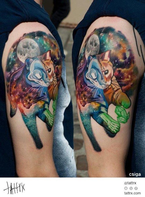 New school style colored shoulder tattoo of space cat