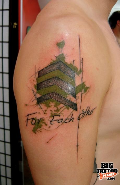 New school style colored shoulder tattoo of military badge with lettering