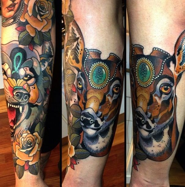 New school style colored leg tattoo of saint deer with flowers