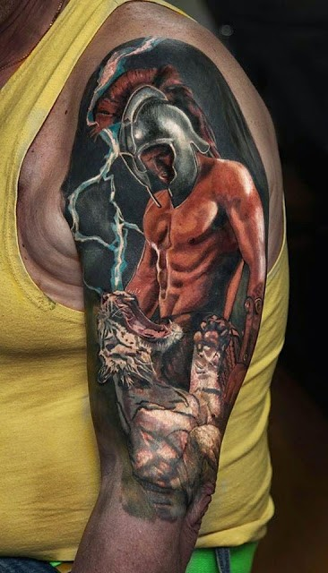 Illustrative style colored shoulder tattoo of ancient warrior with tiger
