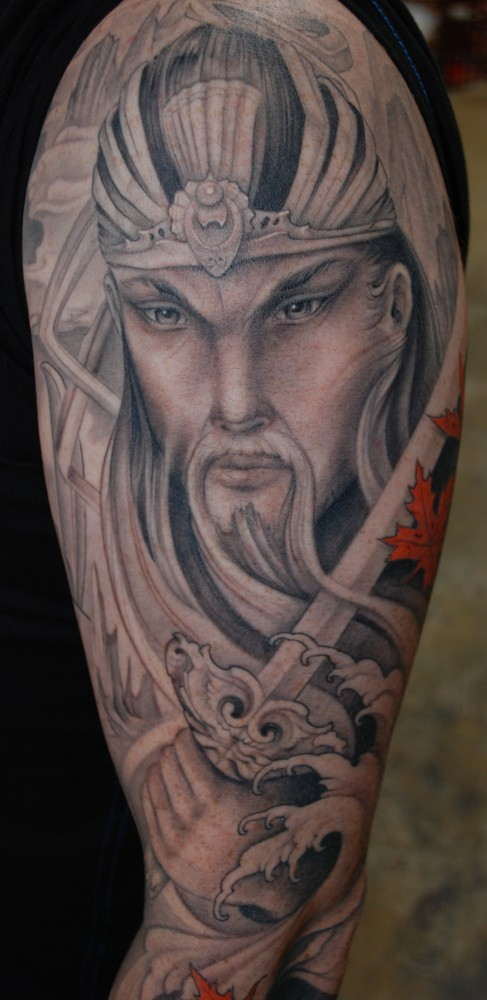Illustrative style colored shoulder tattoo of Asian warrior