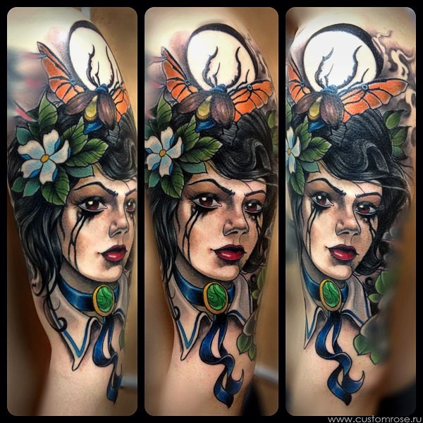 New school style colored shoulder tattoo of beautiful woman with bugs and flowers