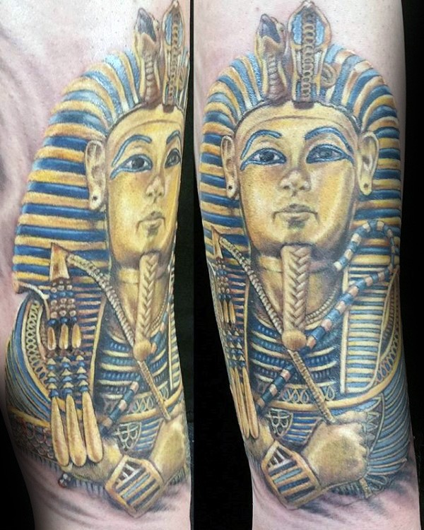 New school style colored arm tattoo of Egypt Pharaoh statue