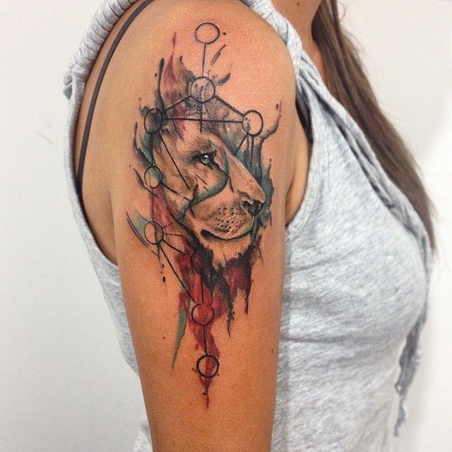 New School Style Colored Shoulder Tattoo Of Lion Head With