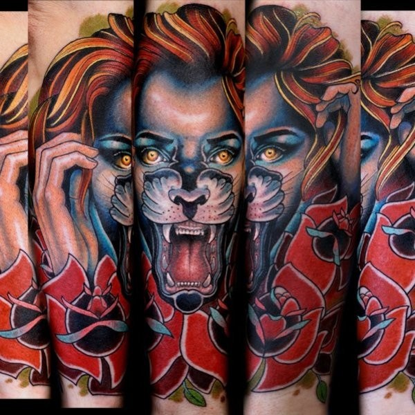 New school style colored arm tattoo of woman with lion face and flowers