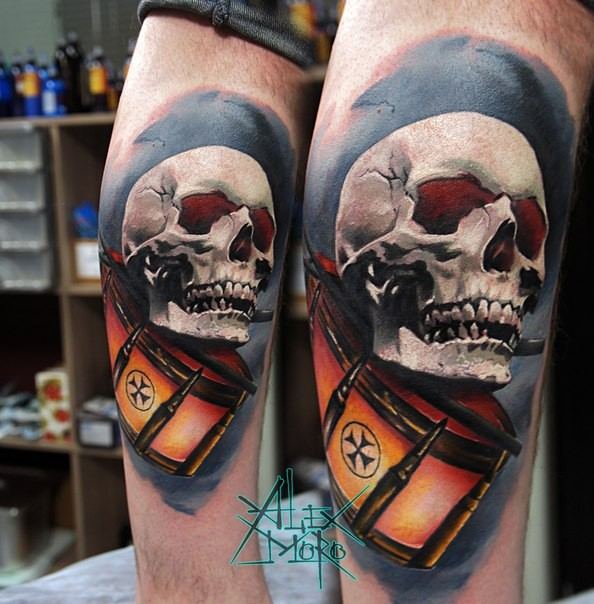 New school style colored arm tattoo of human skull with drums