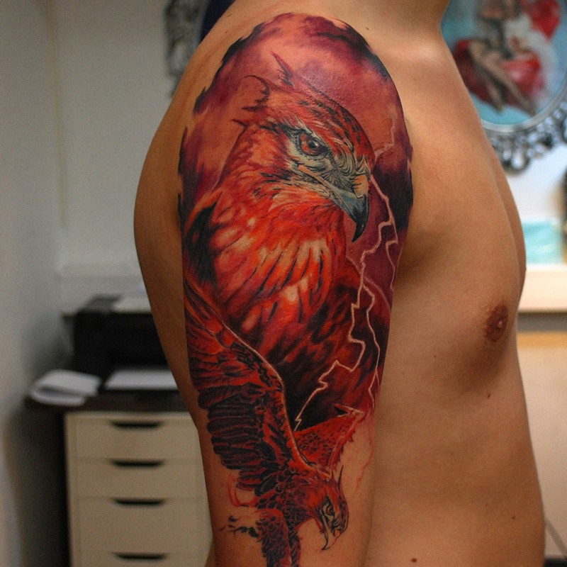 Illustrative style colored shoulder tattoo of large beautiful bird