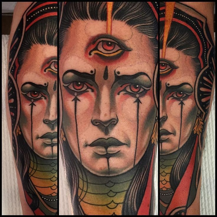 New school style colored arm tattoo of magical woman with third eye