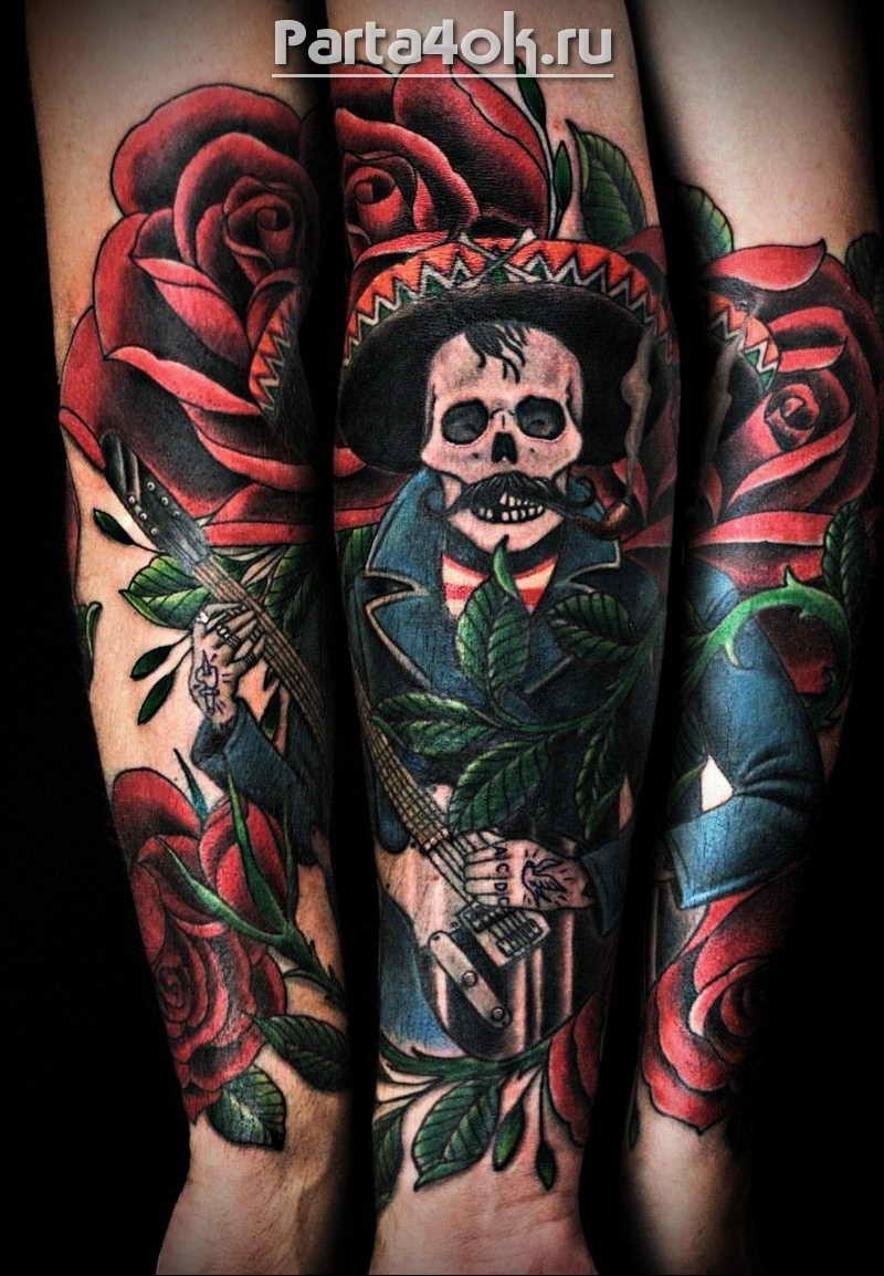 Illustrative style colored arm tattoo of Mexican musician with hat and roses