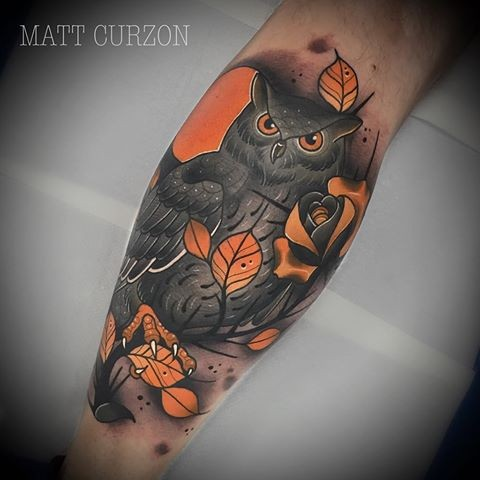 New School Style Colored Leg Tattoo Of Little Owl With Leaves And Rose Tattooimages Biz