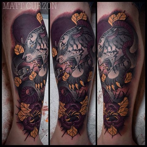 New school style colored leg tattoo of white tiger with leaves