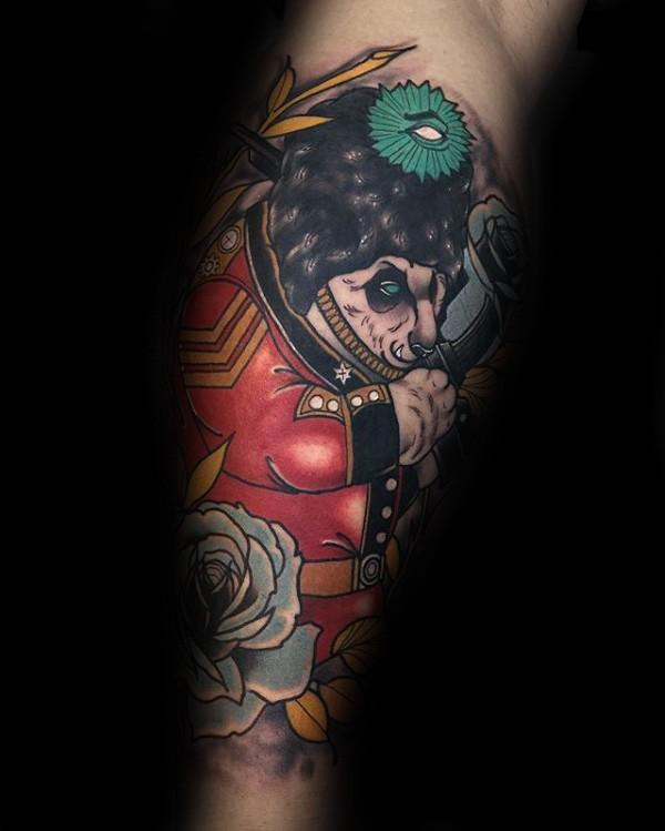 Illustrative style colored arm tattoo of fantasy panda bear