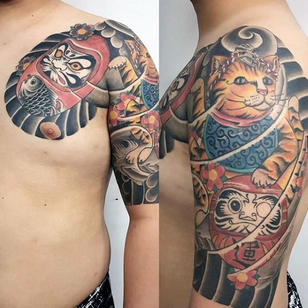 illustrative style colored shoulder tattoo of big daruma dolls and fantasy tiger. Black Bedroom Furniture Sets. Home Design Ideas