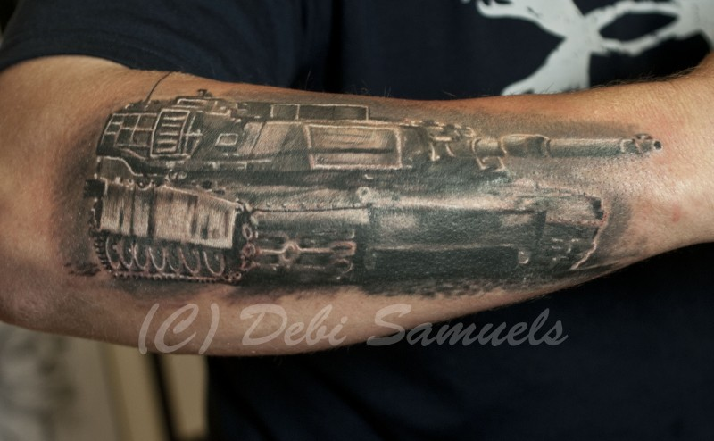 Illustrative style colored arm tattoo of big modern tank