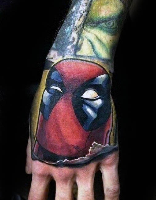 Illustrative style colored arm tattoo of funny Deadpool