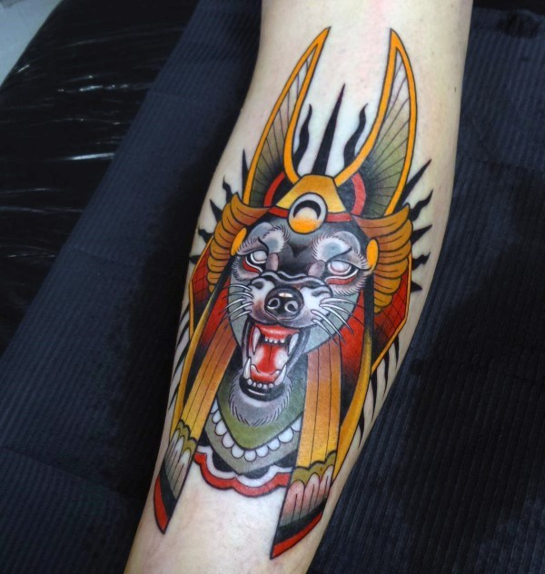 New school style colored forearm tattoo of Egypt Dog