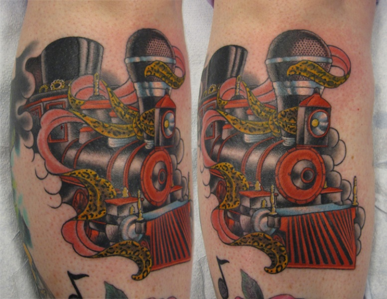 New school style colored leg tattoo of train with leopard ribbon