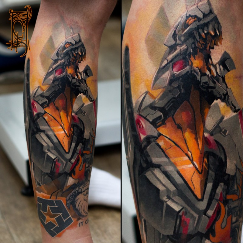 Illustrative style colored arm tattoo of evil robot