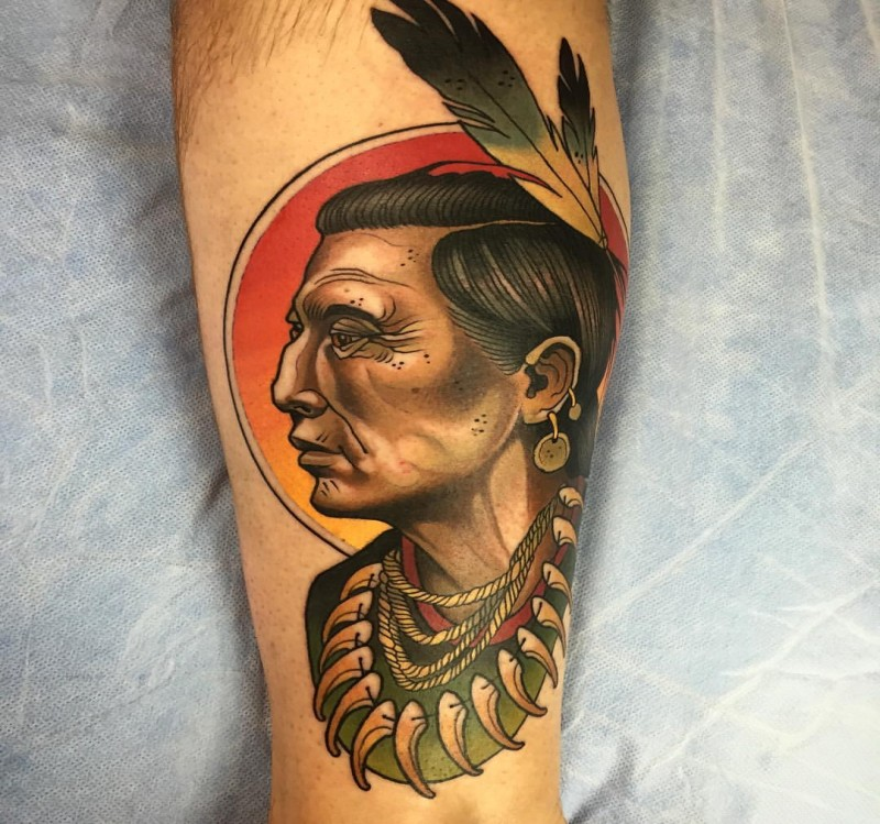 New school style colored leg tattoo of old Indian