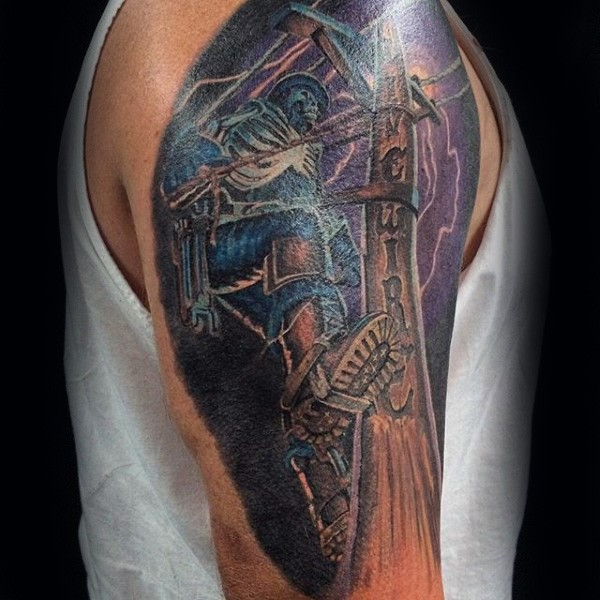 Illustrative style colored shoulder tattoo of lineman with lettering