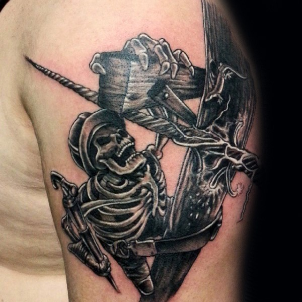 Illustrative style colored shoulder tattoo of lineman skeleton