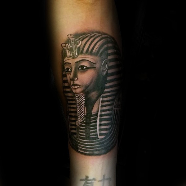 Illustrative style colored arm tattoo of Egypt statue