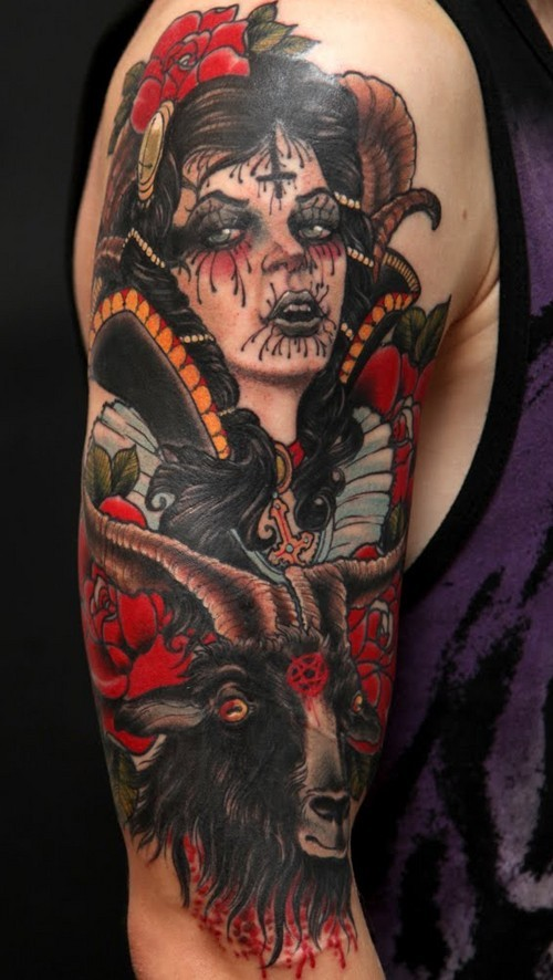 New school style colored shoulder tattoo of demonic woman with goat