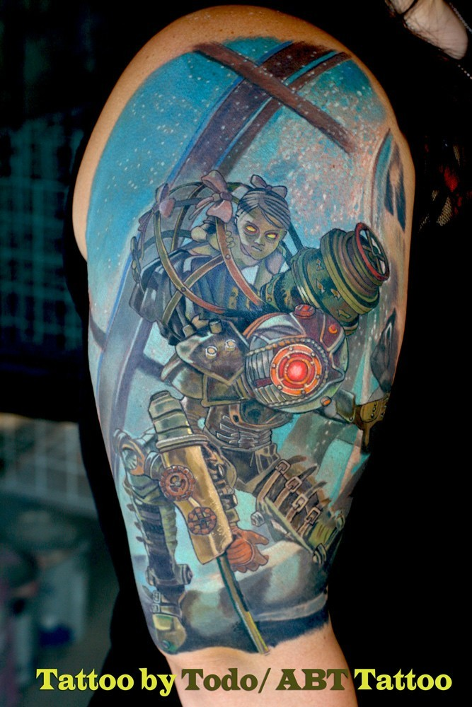 Illustrative style colored shoulder tattoo of fantasy doll with robot