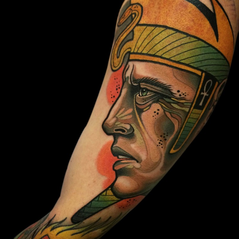 Illustrative style colored arm tattoo of Egypt pharaoh