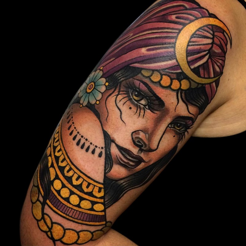 New school style colored shoulder tattoo of incredible woman face