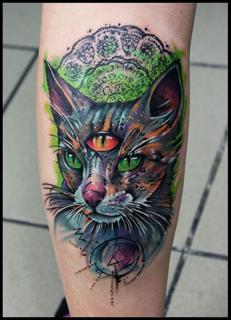 New school style colored leg tattoo of fantasy cat with three eyes