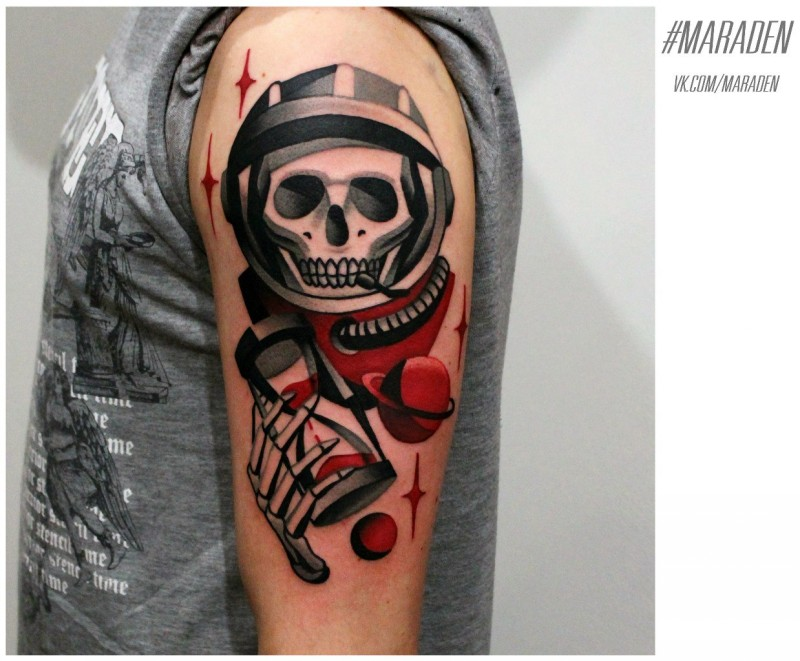 New school style colored shoulder tattoo of space man skeleton with sand clock and planet