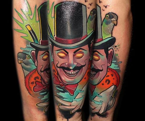 New school style colored arm tattoo of creepy magician with bird