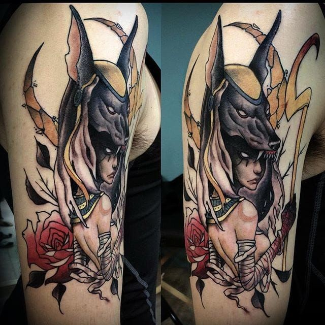 New school style colored shoulder tattoo of Anubis God with rose