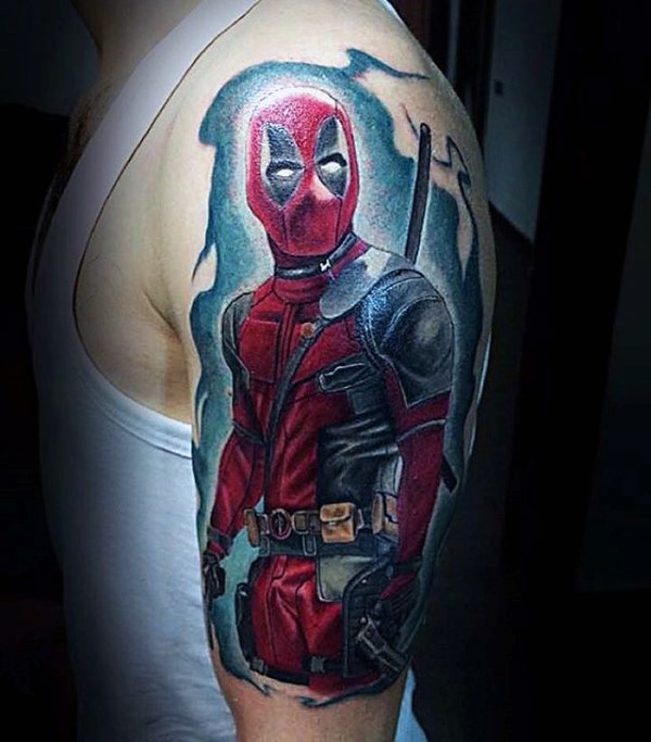 Illustrative style colored shoulder tattoo of detailed Deadpool