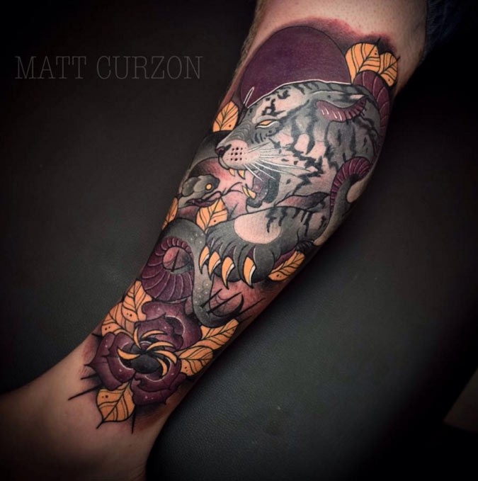 New school style colored arm tattoo of demonic white tiger with flowers
