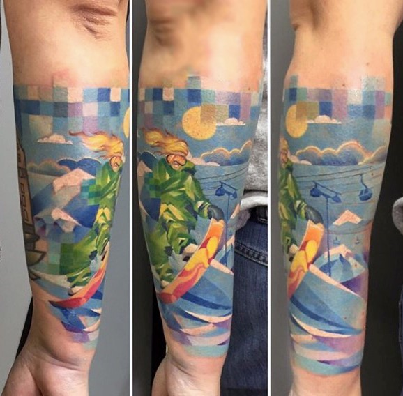 Illustrative style colored arm tattoo of man riding snowboard with sun