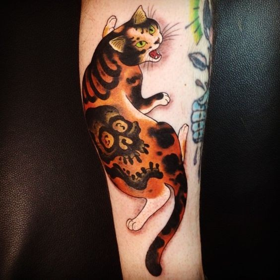 Illustrative style colored forearm tattoo of Manmon cat stylized with human skull by horitomo