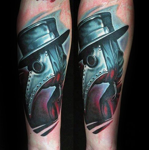 New school style colored forearm tattoo of plague doctor with black hat