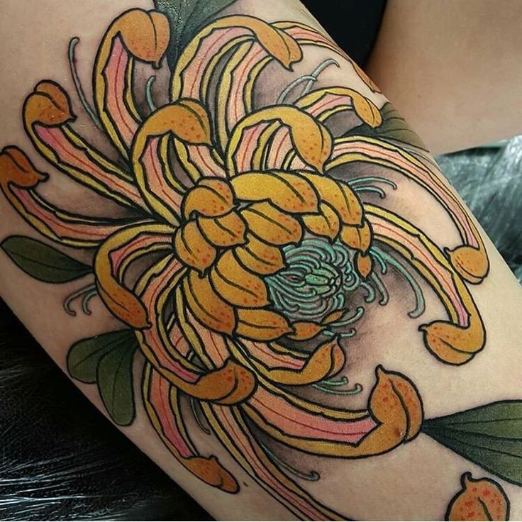 New school style colored arm tattoo of large flower