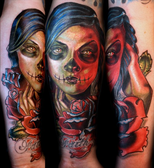 New school style colored arm tattoo of Mexican traditional woman portrait with flowers