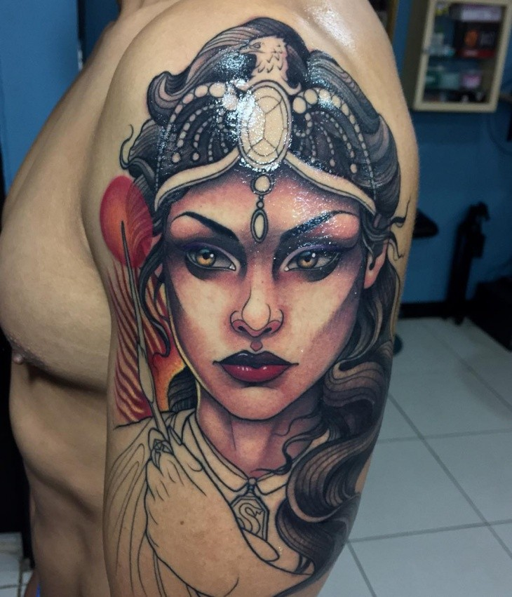New school style colored shoulder tattoo of fantasy woman